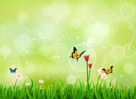 vector raster background: Nature summer background with green grass and butterfly