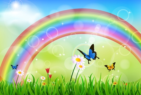 vector raster background: Green grass with rainbow and butterfly