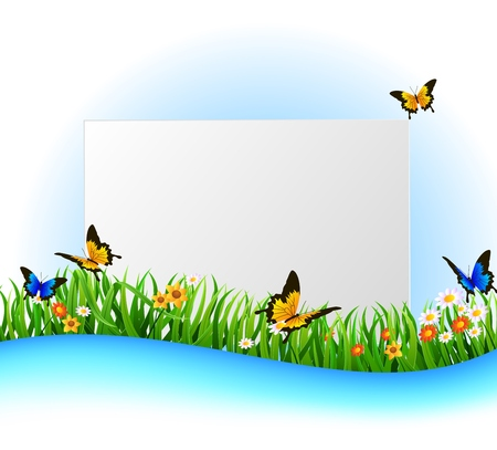 vector raster background: Background Green Grass with butterfly And paper