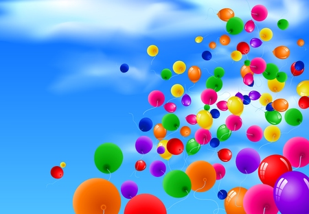 Sky Background with Colorful Balloons