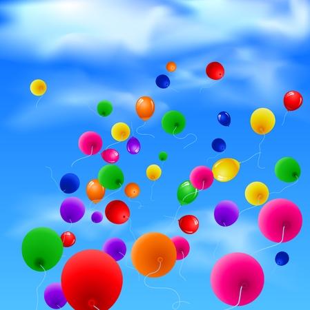 Sky-Hintergrund mit bunten Luftballons Standard-Bild - 50993811