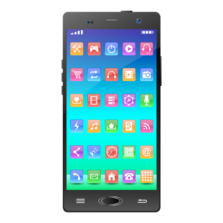 touchscreen: Touchscreen Smartphone with Application Icons. Illustration