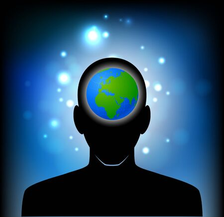 workings: planet earth in human head Illustration