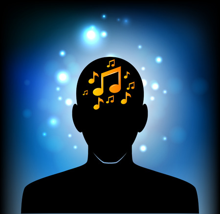 Illustration of a male head icon with a musical note Illustration