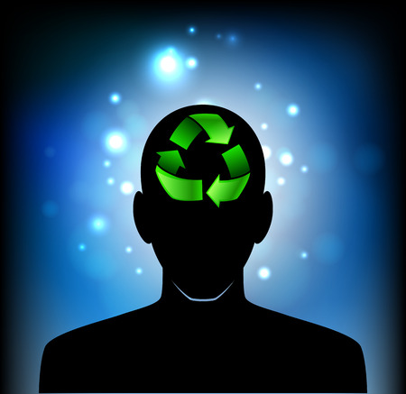 psychiatrist: Illustration of a head icon with a recycle sign Illustration