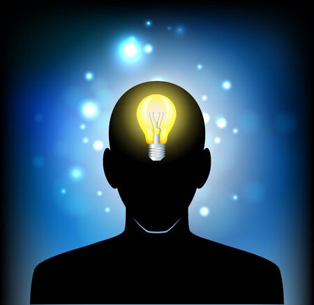 prodigy: Illustration of bulb with silhouette human face Illustration