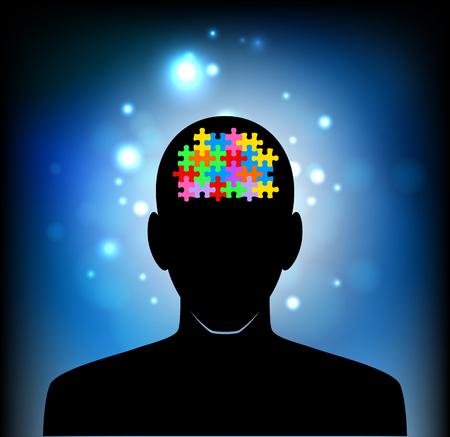 mental confusion: Puzzle brain and silhouette head Illustration