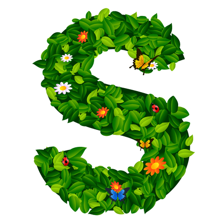 grass isolated: capital letter S from leaf on white background Illustration