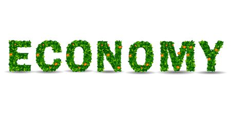 green economy: economy green leaf in the form of letters