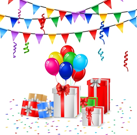 celebration background: Colorful Celebration Background with Party Balloons