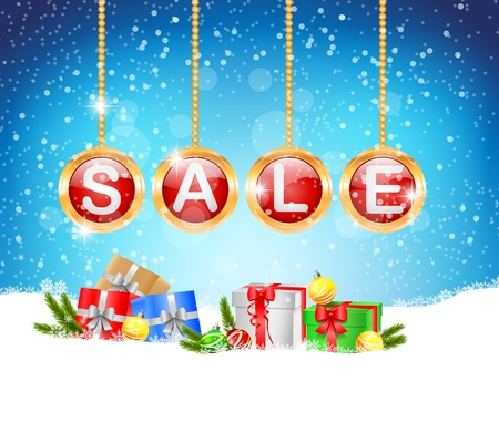 Sale background with ball and gift