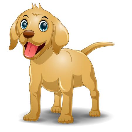 silly: Cartoon funny dog sitting isolated on white background Illustration