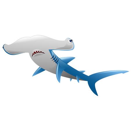 Wild hammerhead shark  attack on white background