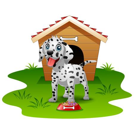 dalmatian: Happy Dalmatian dog wood house isolated