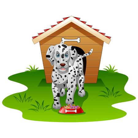 wood house: Happy Dalmatian dog wood house isolated