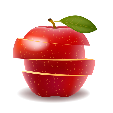 Red apple and slice isolated on white photo-realistic
