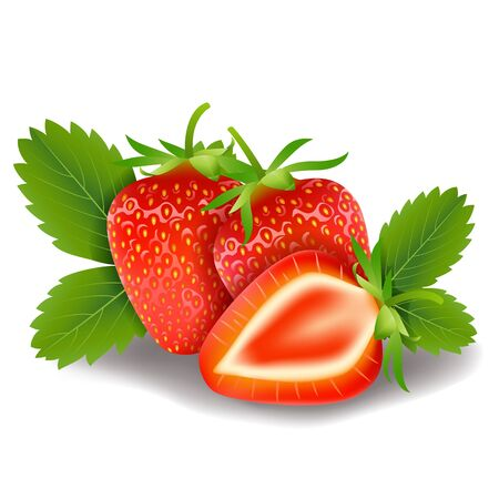 fruitage: sweet strawberry and leaves isolated on white background