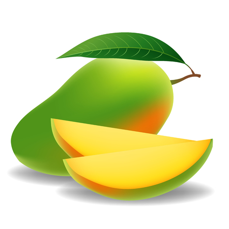Verse Mango Met Plak Isolated On White Background Stock Illustratie