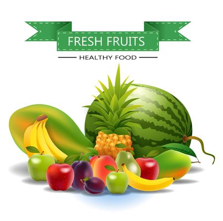 mango slice: Fresh juicy fruit and berries isolated on white background.