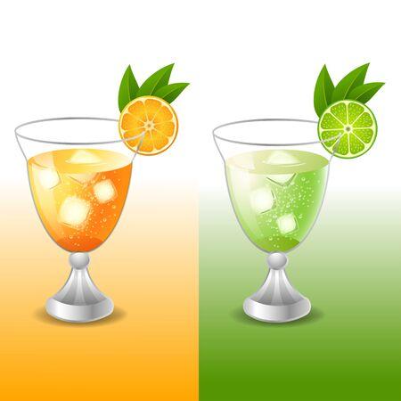 sac: Fresh juice orange and juice lime Illustration