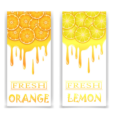 citrus fruit: banners with fresh citrus fruit on a white background