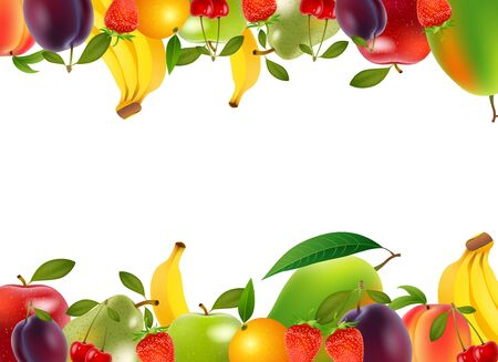 longevity: Healthy food, fruits and vegetables, illustration Illustration