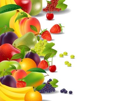 Healthy food, fruits and vegetables, illustration Illustration