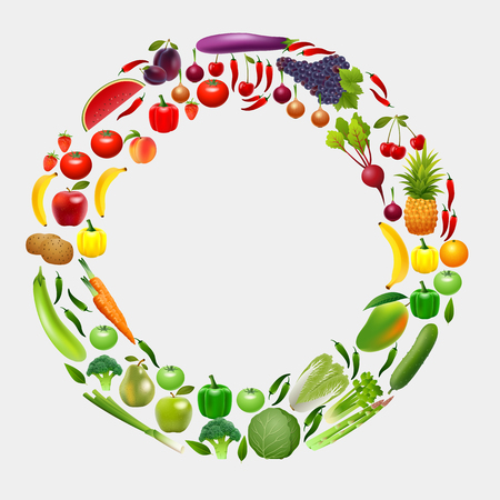 Fruits and Vegetables in a circle. Gardening, horticulture. Organic Food banner Vettoriali