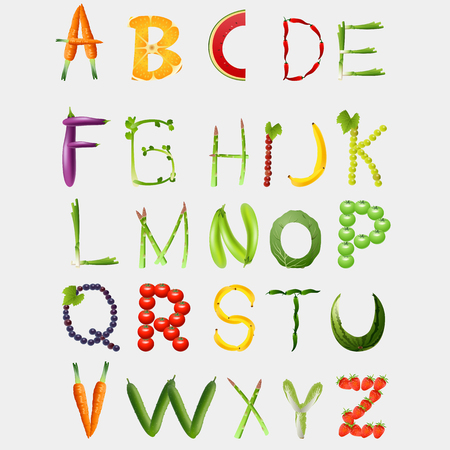 Food alphabet made of vegetables and fruits. Vegetables font. Healthy food vegetables letter