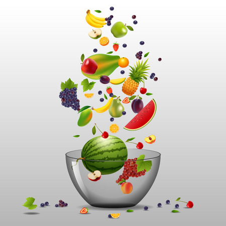 Various fruits and berries are falling in big white bowl on white background. Fruit mix for healthy life