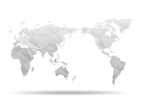 世界地図。低ポリ デザイン。白のおりがみの惑星。ベクトル図