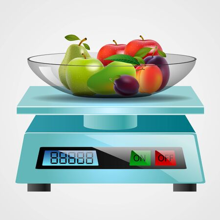 scale with fruits and vegetables. Vector illustration