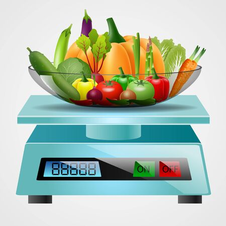 kilograms: scale with fruits and vegetables. Vector illustration
