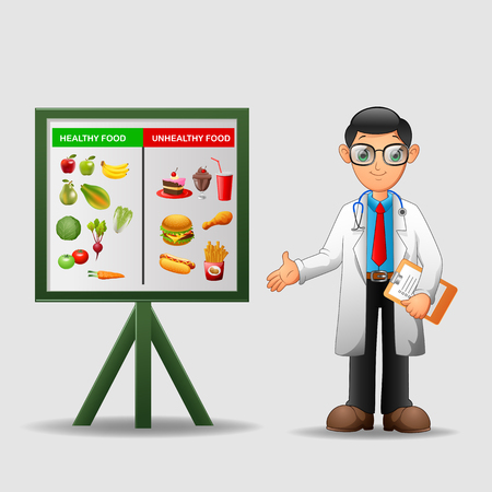 unhealthy: Nutritionist illustration. Doctor shows poster about dietetic healthy and unhealthy food. vector