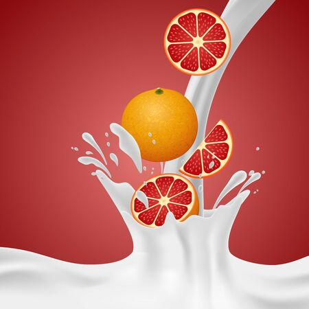 grapefruits: Grapefruits falling into the milky splash. Vector illustration