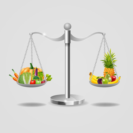 Set of fruits and vegetables in the balance, for your ideas. vector illustration Illustration
