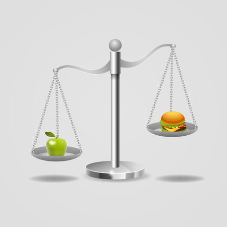 Hamburger and apple on scales. Balance between fast and healthy food. vector illustration