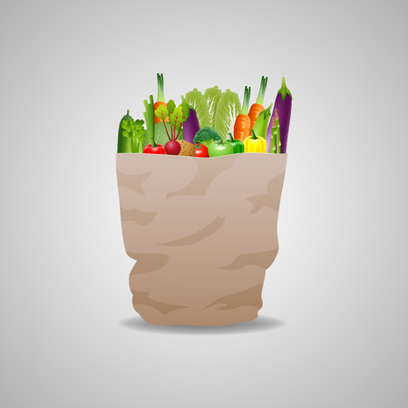 chive: Natural food is very good organic vegetables in paper bag concept vector illustration