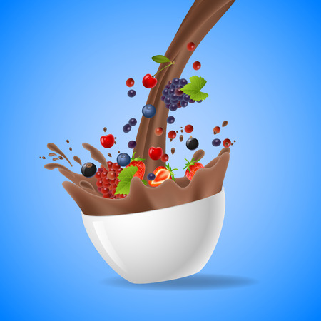 Bowl of healthy fruit and splash of milk. Vector illustration Illustration