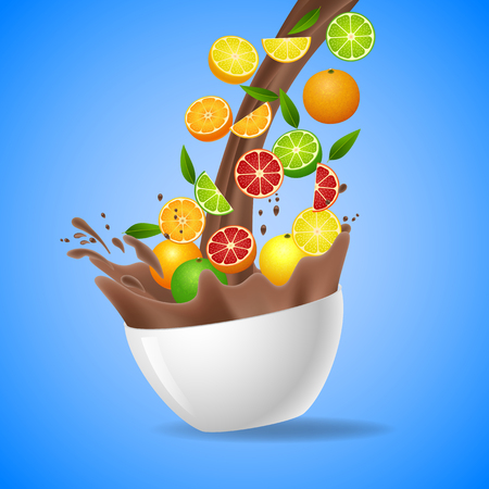 orange splash: Bowl of healthy orange splash of milk chocolate. Vector illustration Illustration