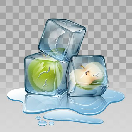 refrigerate: Ice cube with apple. Vector illustration