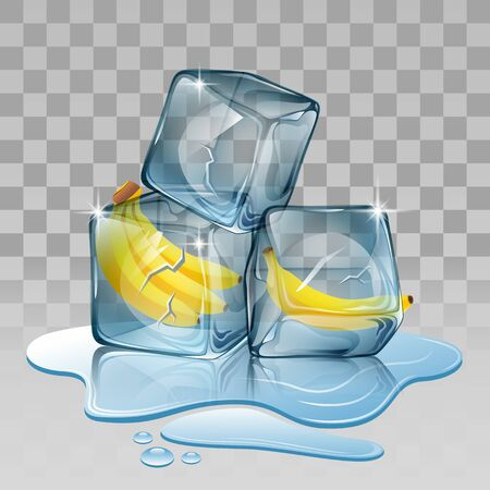 refrigerate: Ice cube with banana. Vector illustration