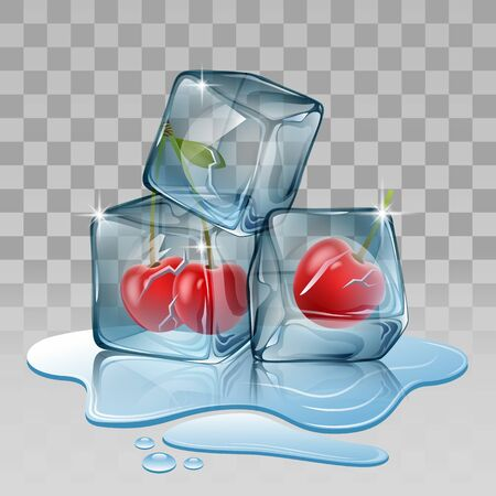 frozen fruit: Ice cube with cherry. Vector illustration Illustration