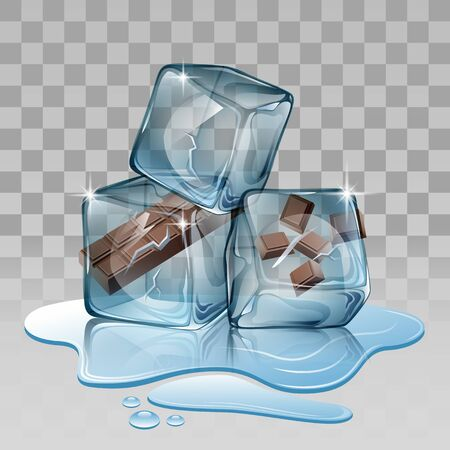 whites: ice cube chocolate Vector illustration