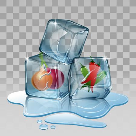alimentos congelados: cubo de hielo, ajustado con el chile y las cebollas ilustración vectorial