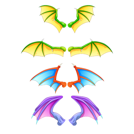 dragon wings isolated on white background. Vector illustration Иллюстрация