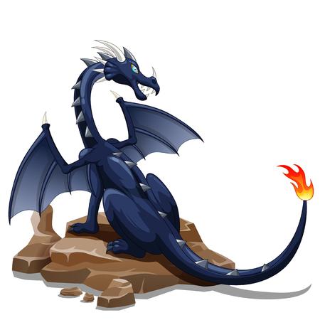 Fire black dragon cartoon animals. vector illustration Illustration