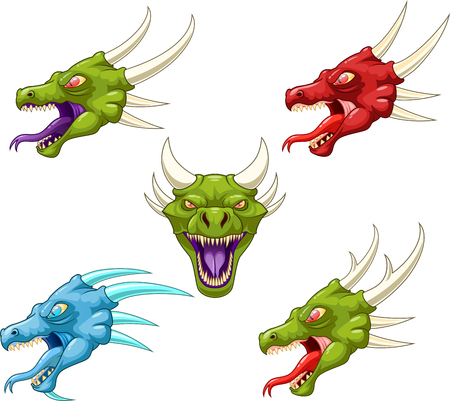 Illustration of different dragon heads