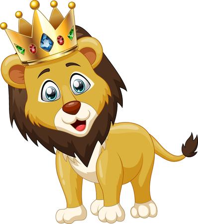 undomesticated: Cute lion king cartoon. Vector illustration Illustration