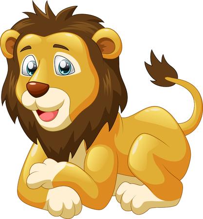 Cute lion cartoon. Vector illustration Illustration